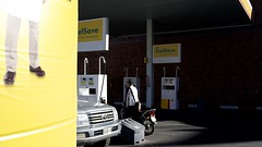 Fuel Save (micmol ) Tags: people man car yellow horizontal ma day outdoor young shell gas arabic pump motorbike morocco toyota vehicle adults brand