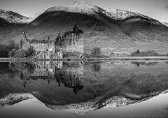Kilchurn Castle (Explored) (Johnlever Photography) Tags: castle reflections mono scotland highlands lochawe kilchurn