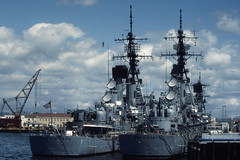 USS Berkeley and USS Henry B. Wilson in San Diego Harbor, March 1982