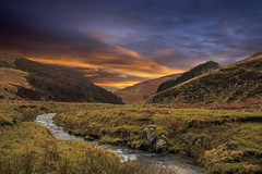 New morning. (Lobhdain) Tags: morning camping sky sun mountains sunrise river walking stream hills burn newday granitehills scottishborders wildcamping