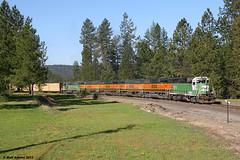 Passing thropugh Springdale (ZManMatt) Tags: railroad train caboose mp bnsf mopac chewelah gp60b gp50 gp39e gp25 bnsf328 bnsf340 chewelahturn bnsf337 bnsf3149 cwhspo mcwhspo bnsf336 bnsf2910 mcwhspo103a