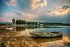 when light goes down (Nejdet Duzen) Tags: trip travel sunset lake reflection tree turkey boat cloudy türkiye sandal günbatımı ağaç göl yansıma turkei seyahat manisa bulutlu gölmarmara golmarmaralake
