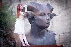 IMG_0482 (shewhodestroys  lane photography) Tags: woman white statue garden dress goddess horns redhead devil concept ram horned