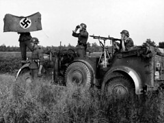 "Waffen-SS soldiers with a Horch-901 • <a style=""font-size:0.8em;"" href=""http://www.flickr.com/photos/81723459@N04/13971560500/"" target=""_blank"">View on Flickr</a>"