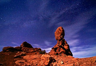 Balanced rock and night sky