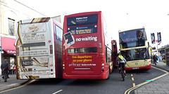 Bus Manouvres at Churchill Square, Brighton. (ManOfYorkshire) Tags: bus buses 645 brighton cyclist hove stop scania 726 brightonhove churchillsquare 729 omnicity omnidekka yp09hws yn54aox yp09hwn