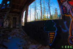 Hidden Art (DKG Images) Tags: street winter sun canada color brick art love graffiti other decay joy damien fisheye explore abandon alberta someone 8mm 1a goodyear bower dkg explored dkgimage dkgimages