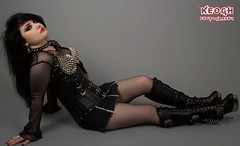 IMG_4919 (Neil Keogh Photography) Tags: red girl leather rock metal punk fishnet corset lipstick collar zips spikes zip buckles spiked studioshoot fishnettights fishnettop demoniaboots borderfx modelhannah spikedbra