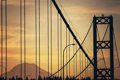Unveiling (West Leigh) Tags: morning travel bridge mountains architecture sunrise dawn washington northwest wanderlust explore beginning tacoma mtrainier wander gigharbor newday tacomanarrowsbridge canon7d