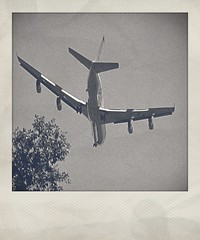 USAF C-135 Transport | Approaching Dobbins ARB (steveartist) Tags: aircraft airplanes usaf flaps militaryaircraft fakepolaroids boeingc135 militarytransports phototoaster camerabag2 instantapp sonydscwx220 monochromaticphotographs sidescanningradar highbypassturbofans