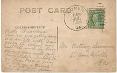 Sydney O'Kelley post card back (Valrico Runner) Tags: david ga georgia post bullock postcard meadow bethany burroughs september card 200 simmons 28 comer griffith pm mercier 1909 danielsville okelley