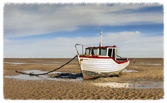 High and Dry (Katybun of Beverley) Tags: sea seascape beach sand shore beached meols highanddry beachedboat sandripples thewirral
