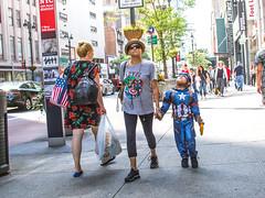 Marveling (tinta saloia) Tags: newyorkcity urban manhattan streetphotography pedestrians marvel captainamerica superheros