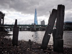 London Has Fallen (Feldore) Tags: old england london tower thames skyline skyscraper pier wooden jetty victorian olympus shore wharf shard mchugh em1 mudlark apocalyptical feldore