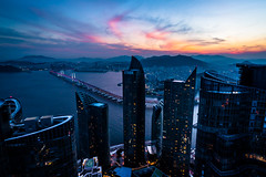 Sunsets from the top of Zenith 101. (FARR Frameworks) Tags: ocean sunset mountains architecture night korea busan skyscrapper rooftopping