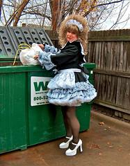 Dumpster duty (jensatin4242) Tags: sissy transvestite maid crossdresser petticoat sissymaid jensatin