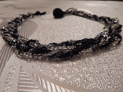 Black and silver crochet beaded necklace (MaxMixShop) Tags: crochet fashionjewelry beadednecklace crochetnecklace fibernecklace
