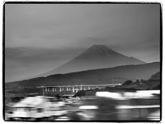 Mount Fuji from Shinkansen (wayward-cloud) Tags: monochrome japan mountfuji