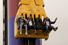 Fear Fall 9 (C & R Driver-Burgess) Tags: park family friends boy woman man tower girl sisters fun amusement high rainbow dad sitting lift ride fairground brothers father elevator mother daughters pole pylon mum together theme colourful held tight harness sons strapped