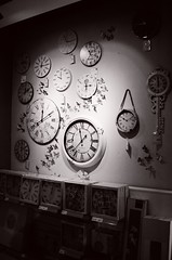Timeless (Ursus Bear) Tags: blackandwhite bw white black clock film monochrome shop analog mono blackwhite store time watch monochromatic chrome buy ilfordxp2400super