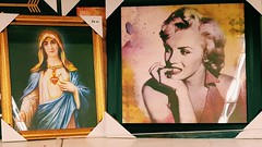 Idols for Sale random thoughtful placement of icons (8millionstories) Tags: marilynmonroe mary onsale iconic idols posterart kmart sacredheart whatisshethinking powerfulwomen attentionkmartshoppers whoischeaper idolsforsale