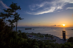 (Olen photo) Tags: road travel blue sunset sky orange sun white tree tower yellow canon ship view taiwan tokina kaohsiung     500d t116