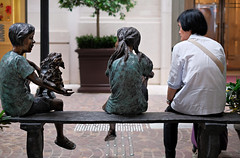 """Talking without speaking"" (hugo poon - one day in my life) Tags: two urban sculpture statue hongkong three solitude lonely talking urbanrenewal talkingwithoutspeaking wanchai ura leetungstreet xpro2 leetungavenue"