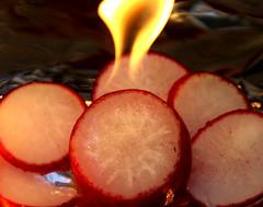 Radish on Fire (ruthlesscrab) Tags: fire radish wah