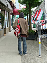 Lost (knightbefore_99) Tags: car free day commercialdrive eastvan thedrive candid people bc canada june italy italian sunday 2016 hobo lost alone bag