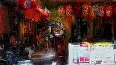 Korean town _ Tsuruhashi (Bamboo Barnes - Artist.Com) Tags: life street blue light shadow red people bicycle yellow japan painting paper restaurant town photo downtown vivid surreal osaka lantern tsuruhashi bamboobarnes