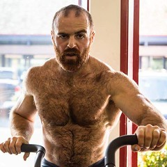 Focused workout (gintry) Tags: hairy pecs hair beard chest workout facial