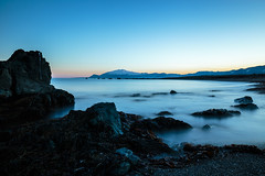 during the night (Andrei-Dragos) Tags: ocean longexposure blue winter sunset water night canon landscape iceland rocks waves stones wide down 6d