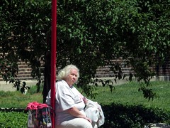 In a world of youth driven images maturity stands out. (kennethkonica) Tags: old city people usa white green america canon hair midwest sitting random outdoor candid indianapolis seat indy indiana mature sit persons seated urba obese global hoosiers overweight canonpowershot glum marioncounty seniorcitizen