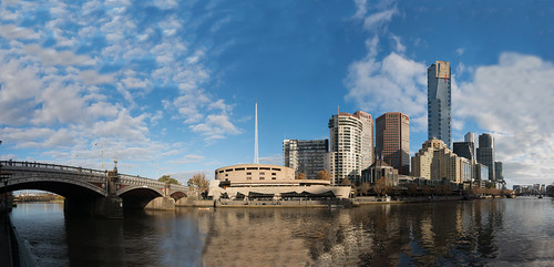 Panorama of Southbank with Princes Bridge and foot bridge on sight