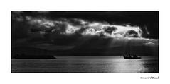 3498SEb  Dawn Arrival (foxxyg2) Tags: sea sky bw monochrome dawn mono boat blackwhite fishing ship aegean greece greekislands paros cyclades naxos islandhopping islandlife pisolivadi niksoftware silverefex