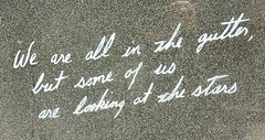 Gutter and Stars (mikecogh) Tags: dublin stars memorial quote oscarwilde gutter script cursive