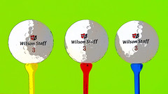 Anyone for golf? (fstop186) Tags: blue red green art lines sport yellow design soft colours shadows graphic curves surreal professional plastic popart invitation warhol primary tees longrange wilsonstaff anyoneforgolf redblueyellowtogether rbytogether