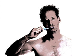 127-365 Morning Routine (Paul K.-QuixoteImages) Tags: man male highkey toothbrush selfie paulknight quixoteimagescom manbrushingteeth