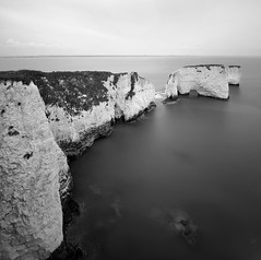 Old Harry Rocks (www.damientaylor.co.uk) Tags: old sea england sky white black water grass vertical out coast chalk seaside rocks long exposure image britain united great relaxing harry kingdom nobody drop cliffs chrome photograph dorset huge serene swanage jurassic pinnacle ironed flatened monochromemono