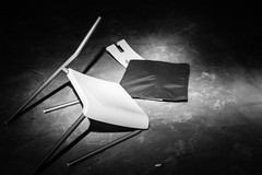 I am Ikea.  Often broken, but never defeated. (eric_hevesy) Tags: light blackandwhite white black ikea broken night dark chair paint creative emotive
