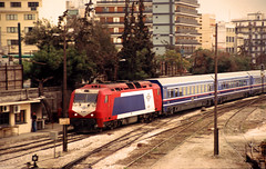 Greek (OSE) Adtranz Bo-Bo diesel (now Class 220) No. A-481 at Athens Station, 7 Oct 2004 (A Scotson) Tags: diesel trains athens greece railways ose adtranz atheena class220 greekrailways