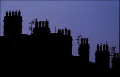 Silhouette (ynotwooly) Tags: silhouette night lumix rooftops dusk panasonic chimneys fz48