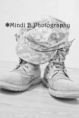 Half my heart... (foreverinlove6103) Tags: blackandwhite army military combatboots militarylife patrolcap