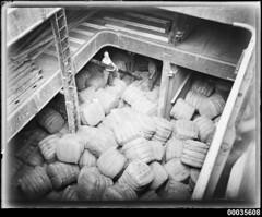 Wool bales on board MAGDALENE VINNEN