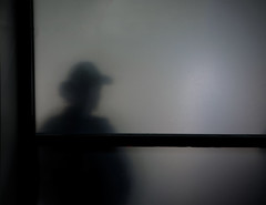 at the bank (dotintime) Tags: light shadow window hat silhouette fog dark haze bank meganlane dotintime