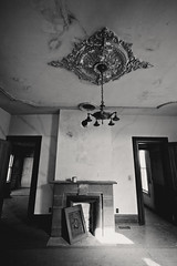 (Erin Watson/Abandoned Exploration) Tags: door old light shadow urban bw white house black abandoned home beauty farmhouse rural canon dark fireplace midwest quiet photographer sad decay farm exploring country grand ceiling nostalgia doorway forgotten memory ornate fixture exploration ue urbex 2013 beautyindecay erinwatson erinwatsonphotography