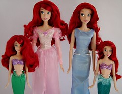 2012 and 2013 Ariel Singing and Classic Dolls - Side by Side Comparison - Midrange Front View (drj1828) Tags: pink blue ariel set us doll dress singing mermaid comparison sidebyside disneystore 12inch 2012 thelittlemermaid 16inch 2013 deboxed classicprincessdollcollection