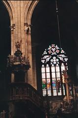 (DanielJPHadley) Tags: film analog 35mm canon prague gothic praha stainedglass praskhrad czechrepublic analogue bohemia stvituscathedral praguecastle republika ae1p ae1program esk katedrlasvathovta