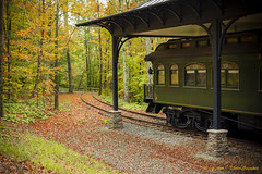 Railway to the Fall (Photosequence) Tags: new york autumn red orange ny fall nature leaves yellow train season waterfall leaf vermont seasons united north drop east foliage pa lincoln northeast 2014 stated hildene 2013