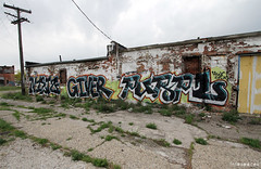 (Into Space!) Tags: street urban graffiti photo detroit hwc vandal graff straight piece bombing rundown giver niets icr tafk purpl gsak intospace nietz intospaces